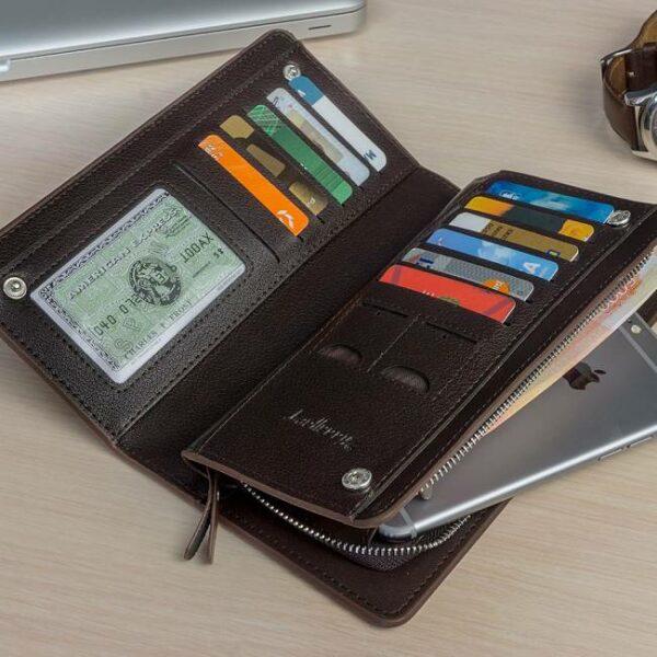 кошелек портмоне Браун с нанесенным именем владельца в развороте