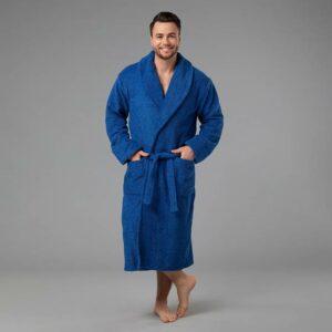 подарок для мужчины именной халат синий в рост