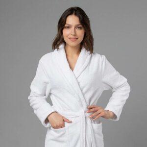 подарок для женщин именной халат с вышивкой белый