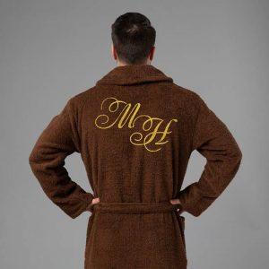 подарок для мужчин халат с вышитыми инициалами