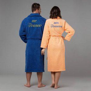подарок паре халаты с вышивкой Мистер и миссис