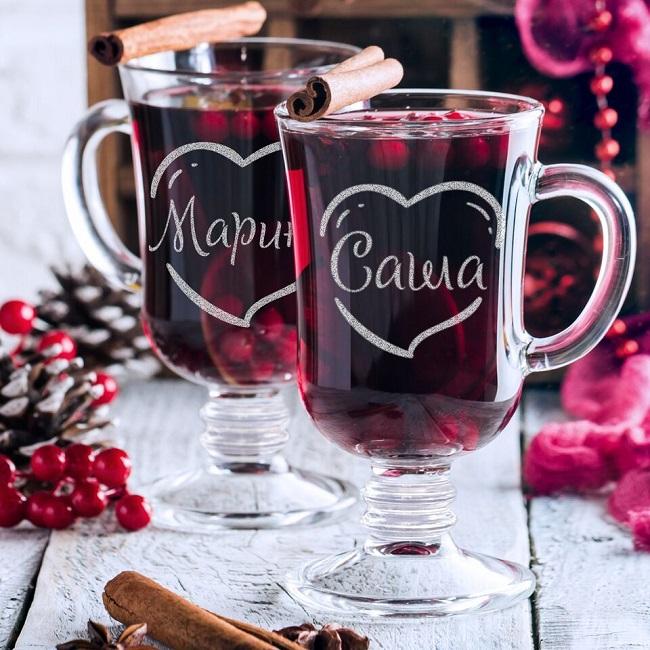 подарочный набор бокалов для глинтвейна для влюбленных
