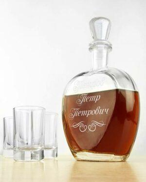 подарок штоф для напитков с именем нанесенным гравировкой