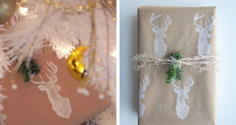 Упаковка подарка штемпельной бумагой