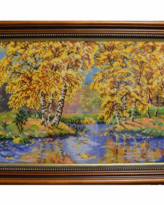 Картина вышитая бисером Палитра осени