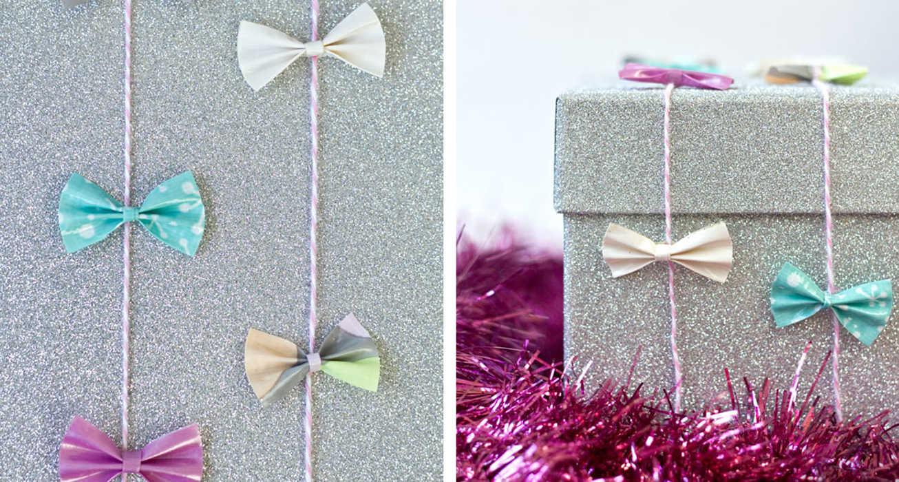 Дизайн упаковки подарка бантами