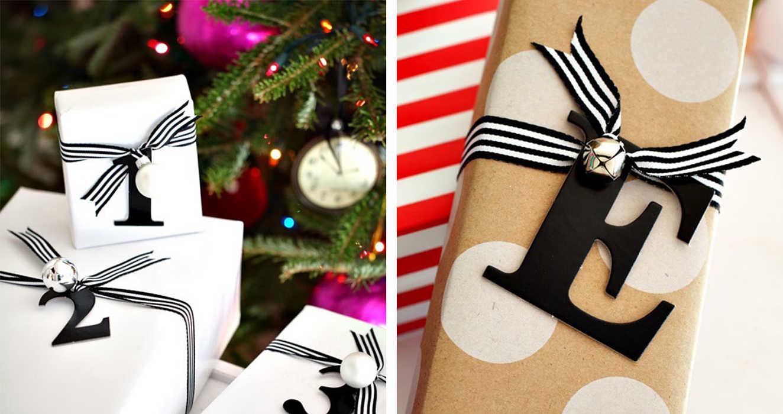 Украшение упаковки подарка буквами