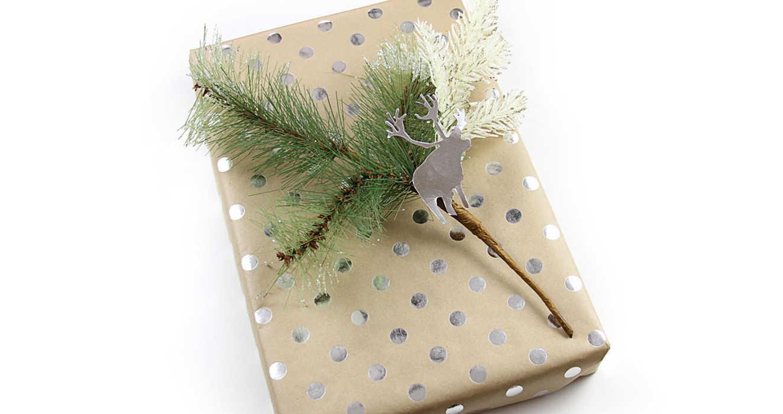 Упаковка подарка металлизированный Горошек