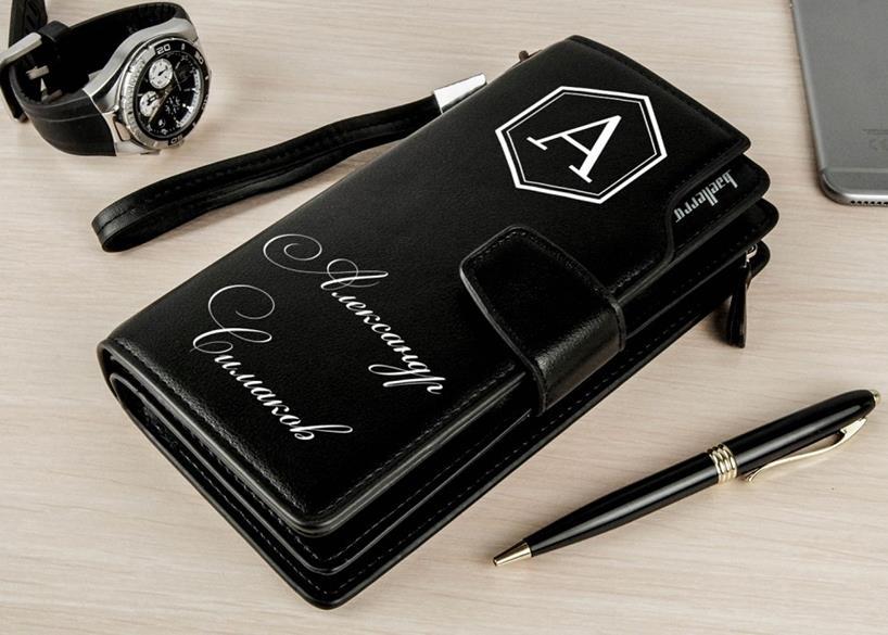 подарок для мужчины портмоне клатч с именем