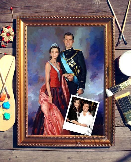 подарок портрет выполненный по фотографии принцесса и принц