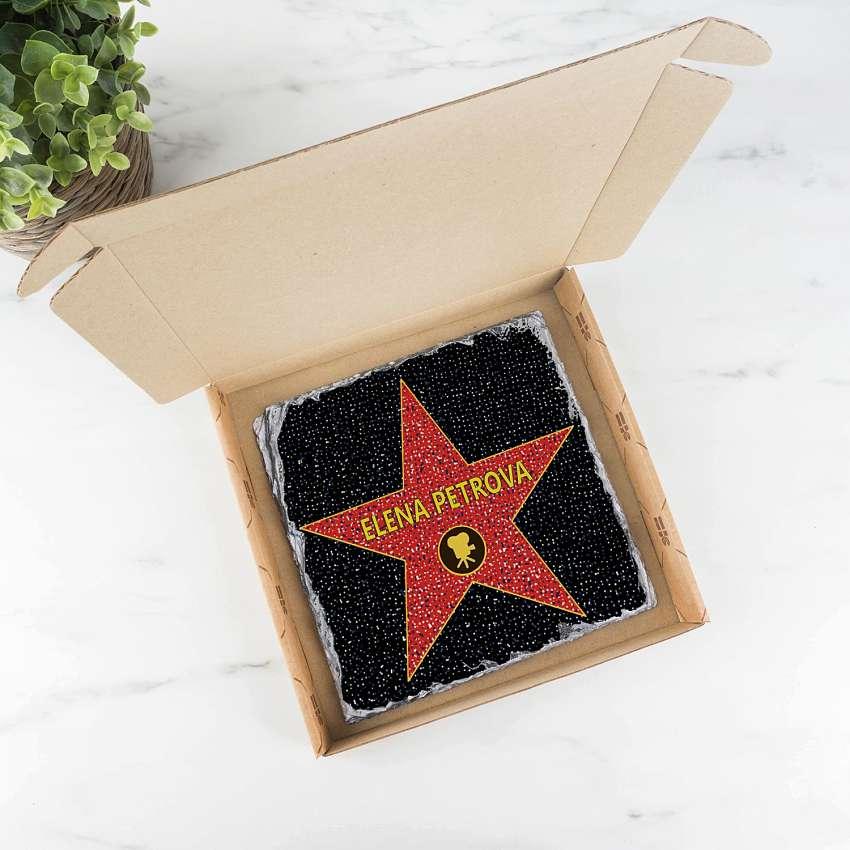 """подарочная голливудская звезда """"Именная"""" на камне"""