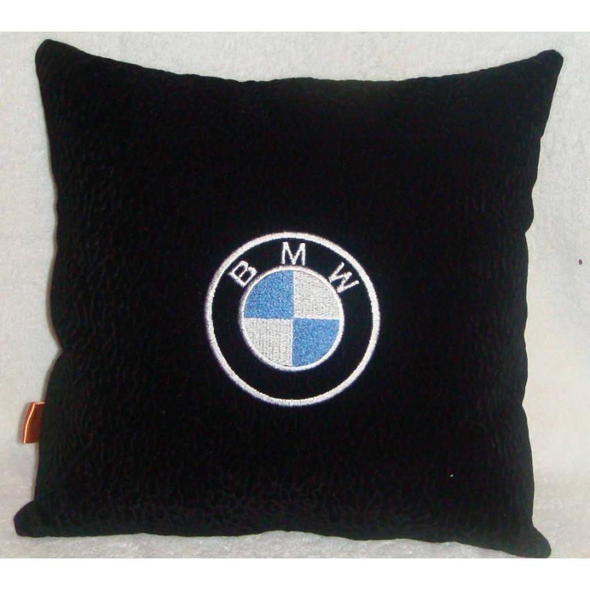 автоподушка замша черная с логотипом БМВ